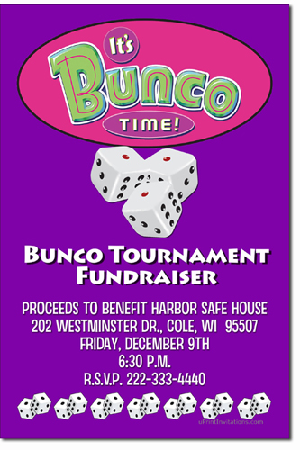 Bunco Invitations Bunko Invitations Candy Wrappers Thank You