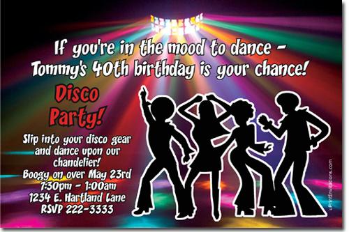Disco Invitations Dancing Invitations Music Invitations Piano – 70s Party Invitations