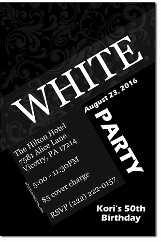 white party invitations, Party invitations