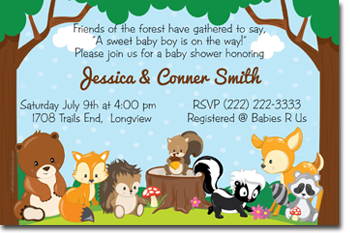 click to create this invitation forest woodland animals baby shower invitations