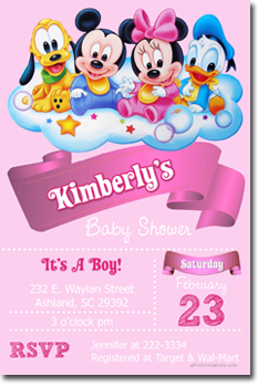 Baby shower invitations design your own baby shower cards do it click to create this invitation mickey mouse babies pink baby shower invitations filmwisefo