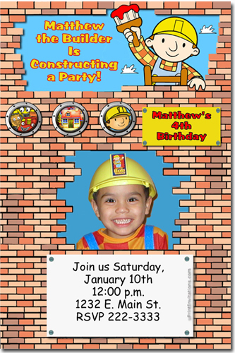 bob the builder birthday invitations candy wrappers thank you