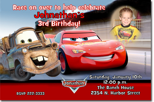 Cars The Movie Birthday Invitations Candy Wrappers Thank You Cards
