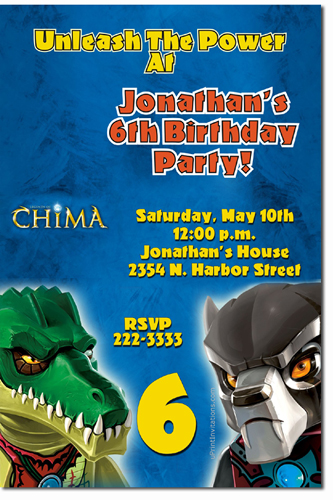 Lego Birthday Invitations Chima Ninjago