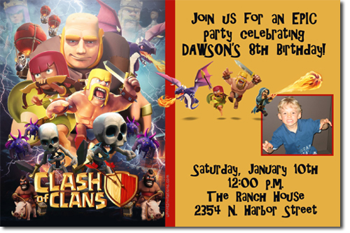 Clash Of Clans Birthday Invitations Candy Wrappers Thank You Cards