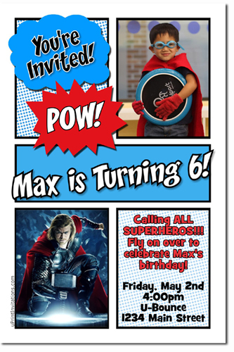 Thor birthday invitations super hero birthday invitations candy click to create this invitation filmwisefo