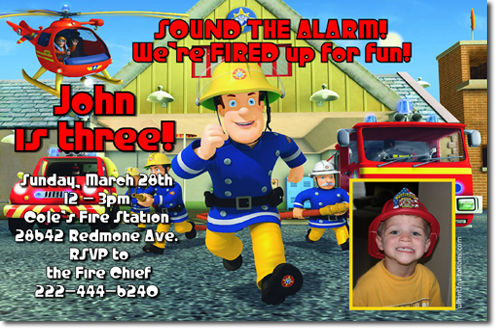 Fireman Birthday Invitations Candy Wrappers Thank You Cards Candy