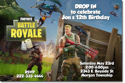 photo about Fortnite Birthday Card Printable identified as Fortnite Fortnight Birthday Invites, Sweet Wrappers