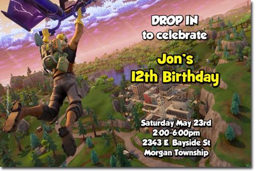 photograph regarding Fortnite Birthday Card Printable named Fortnite Fortnight Birthday Invites, Sweet Wrappers