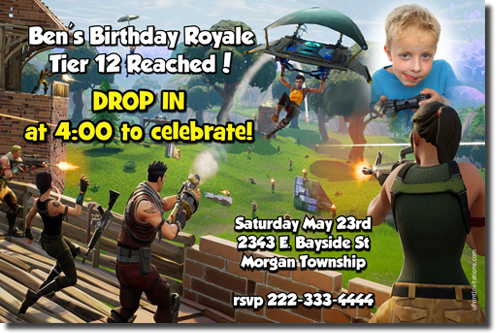 Fortnite Fortnight Birthday Invitations Candy Wrappers Thank You