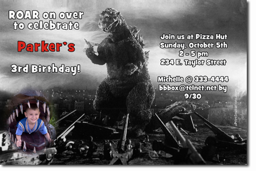 Godzilla Birthday Invitations Candy Wrappers Thank You Cards