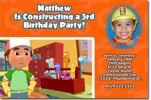 Handy Manny Birthday Invitations Candy Wrappers Thank You Cards – Handy Manny Party Invitations