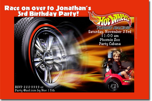 Hot Wheels Birthday Invitations Candy Wrappers Thank You
