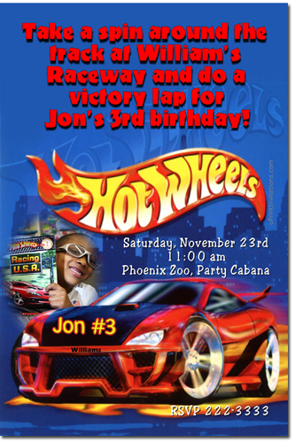 Hot Wheels Birthday Invitations Candy Wrappers Thank You Cards