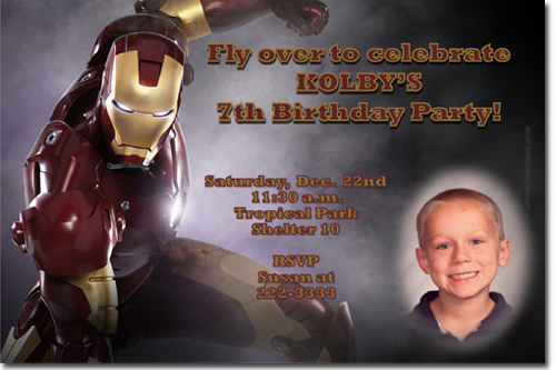 Iron Man Birthday Invitations Super Hero Birthday Invitations