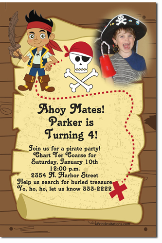 Jake And The Never Land Pirates Birthday Invitations Candy Wrappers