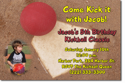Kickball Birthday Invitations Candy Wrappers Thank You