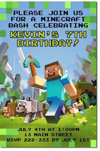 Minecraft Birthday Invitations Candy Wrappers Thank You