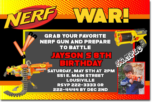 nerf gun birthday invitations  candy wrappers  thank you cards  candy bag labels