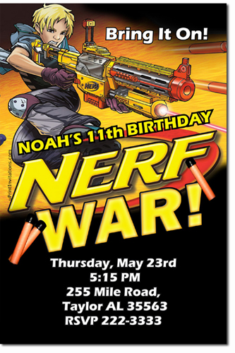 Nerf Gun Birthday Invitations Candy Wrappers Thank You Cards - Party invitation template: nerf war party invitation template