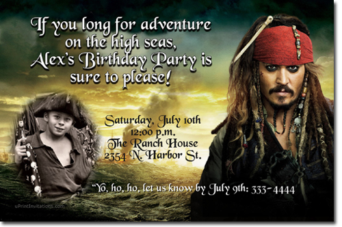 Pirates Of The Caribbean Birthday Invitations Candy