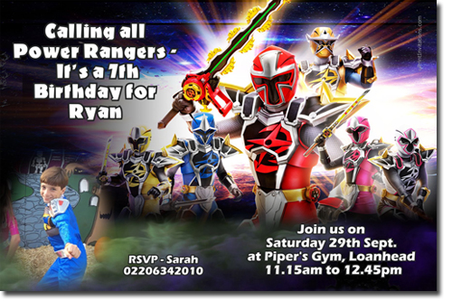 power rangers ninja steel birthday invitations  candy