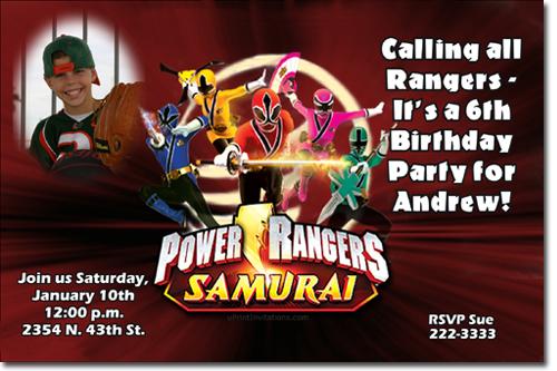 Power Rangers Ninja Steel Birthday Invitations Candy Wrappers