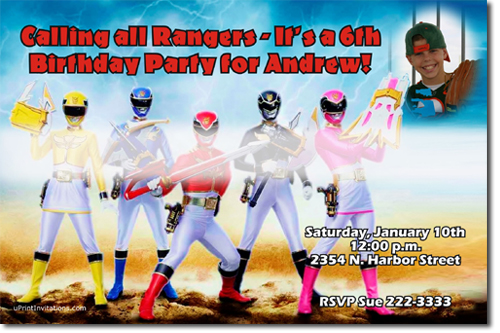power rangers dino charge birthday invitations, candy wrappers, Birthday invitations
