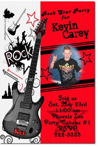 Rock Star Birthday Invitations Guitar Birthday