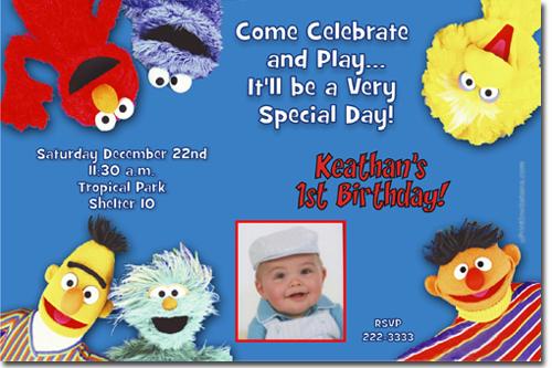 Sesame Street Birthday Invitations Elmo Birthday Invitations – Sesame Street 1st Birthday Invitations