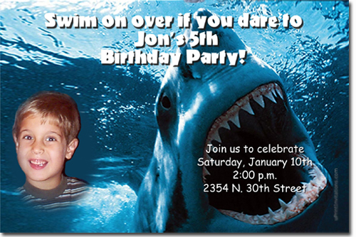 Shark Birthday Invitations Candy Wrappers Thank You
