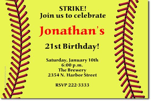 Baseball Birthday Invitations Softball Birthday Invitations – Softball Birthday Invitations