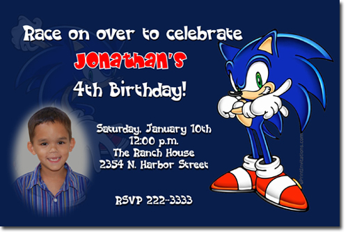 Sonic The Hedge Hog Birthday Invitations Candy Wrappers Thank You Cards Candy Bag Labels