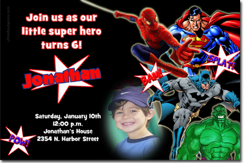 spiderman birthday invitations, super hero birthday invitations, Birthday invitations