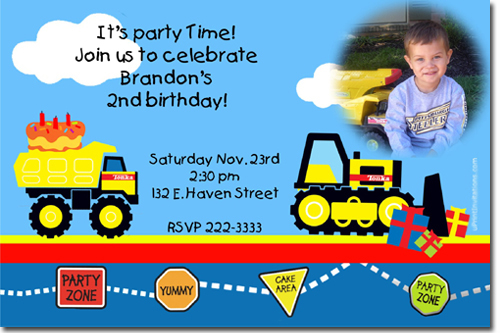 tonka truck birthday invitations, construction birthday, Birthday invitations