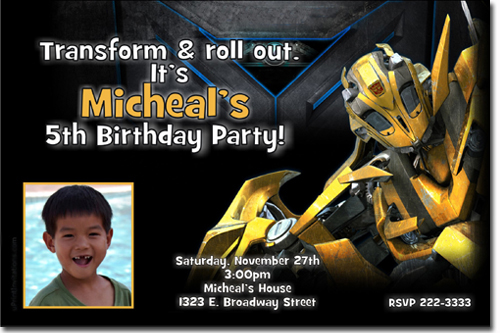 transformers birthday invitations, bumblebee birthday invitations, Birthday invitations
