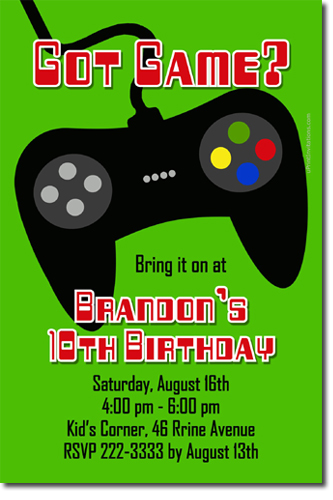Video Game System Birthday Party Invitations Candy Wrappers - Birthday invitation video