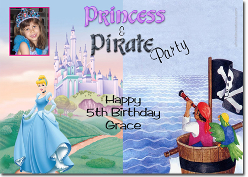 Princess And Pirate Birthday Party Invitations Candy Wrappers