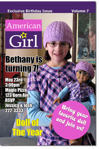 An American Girl Birthday Invitations Candy Wrappers Thank You