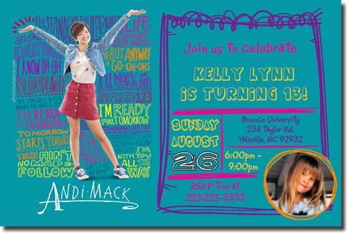 Andi Mack Birthday Invitations Candy Wrappers Thank You