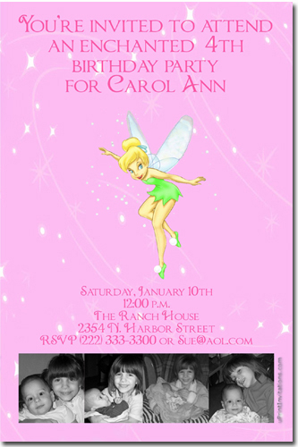 Tinkerbell birthday invitations candy wrappers thank you cards click to create this invitation solutioingenieria Choice Image
