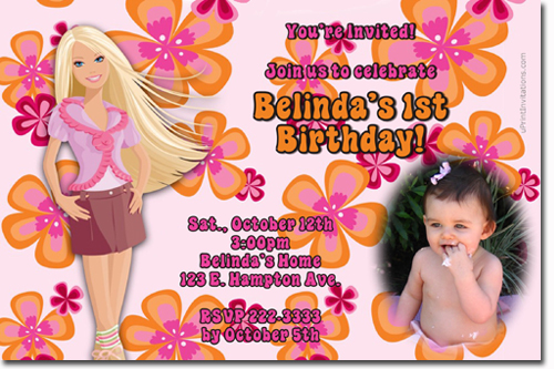Barbie birthday invitations candy wrappers thank you cards candy click to create this invitation stopboris Image collections