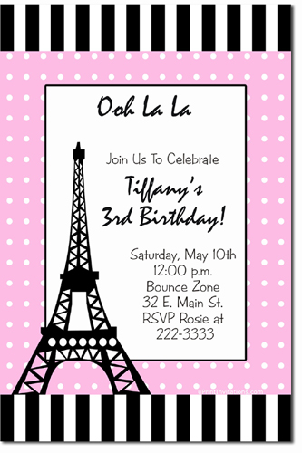 Poodle in Paris Birthday Invitations, Candy Wrappers, Thank You Cards, Candy bag Labels