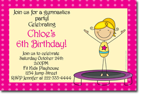 Gymnastics Birthday Invitations Candy Wrappers Thank You Cards – Gymnastic Birthday Invitations