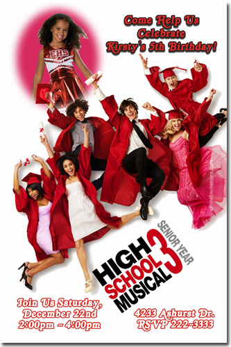 High School Musical 3 Birthday Invitations Candy Wrappers Thank