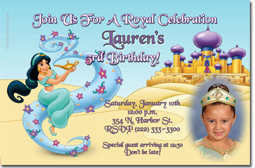 Aladdin Birthday Invitations Jasmine Birthday Invitations Candy