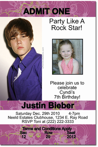 Justin Bieber Birthday Invitations Candy Wrappers Thank You Cards