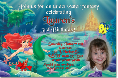 Little mermaid birthday invitations ariel birthday invitations little mermaid birthday invitations filmwisefo