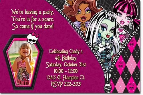 Monster High Birthday Invitations Candy Wrappers Thank You Cards – Monster High Birthday Card