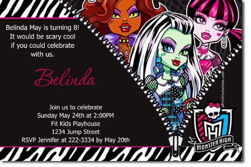 Monster High Birthday Invitations Candy Wrappers Thank You Cards